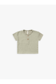 Quincy Mae Organic Woven Henry Top - Sage - Product Mini Image