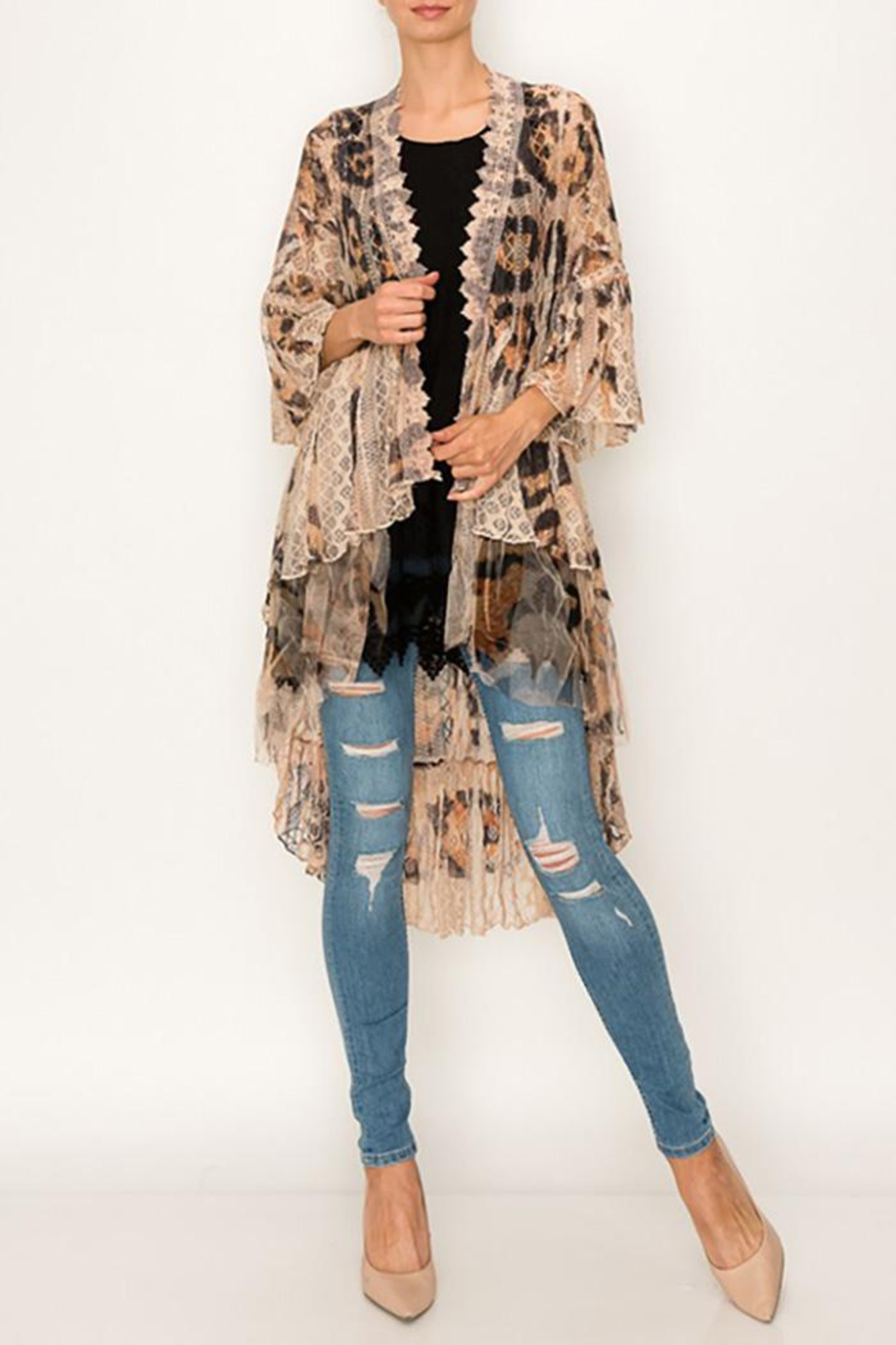 Origami All Lace Leopard Printed Cardigan - Main Image