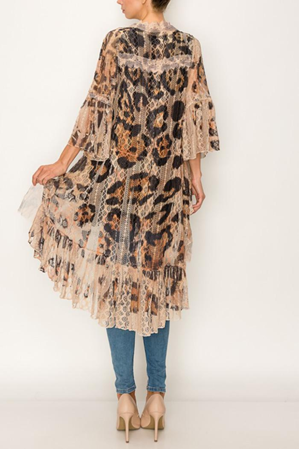 Origami All Lace Leopard Printed Cardigan - Front Full Image