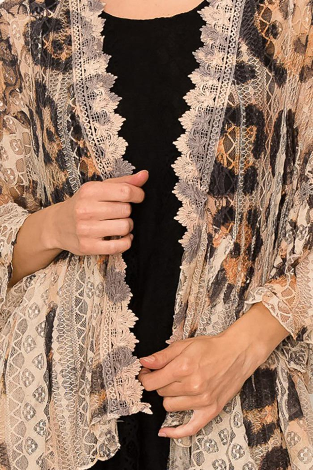 Origami All Lace Leopard Printed Cardigan - Side Cropped Image