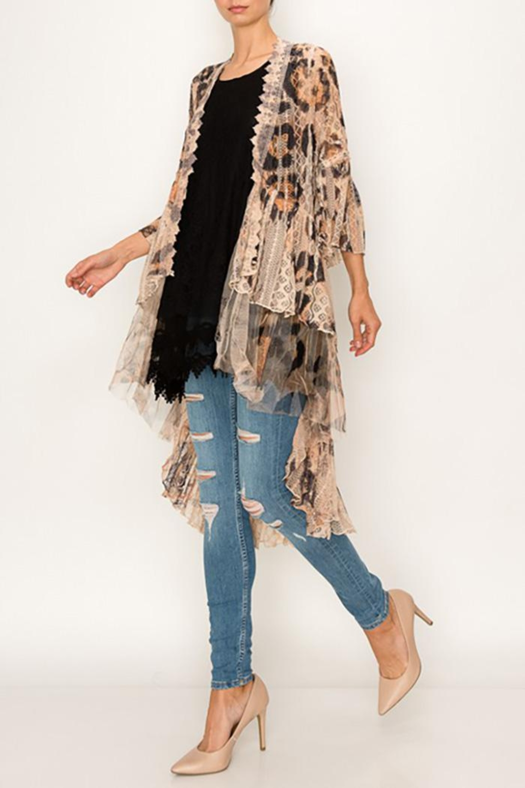 Origami All Lace Leopard Printed Cardigan - Back Cropped Image
