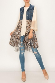Origami Denim Blue Vest Leopard Print Lace Layer - Product Mini Image
