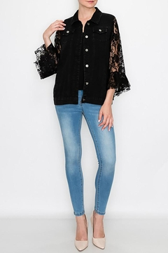 Origami Denim Jacket With Lace Sleeves - Product List Image
