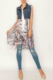 Origami Denim/lace Long Vest - Product Mini Image