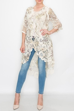Origami Floral Printed Crochet Cardigan - Product List Image