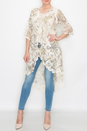 Origami Floral Printed Crochet Cardigan - Product Mini Image