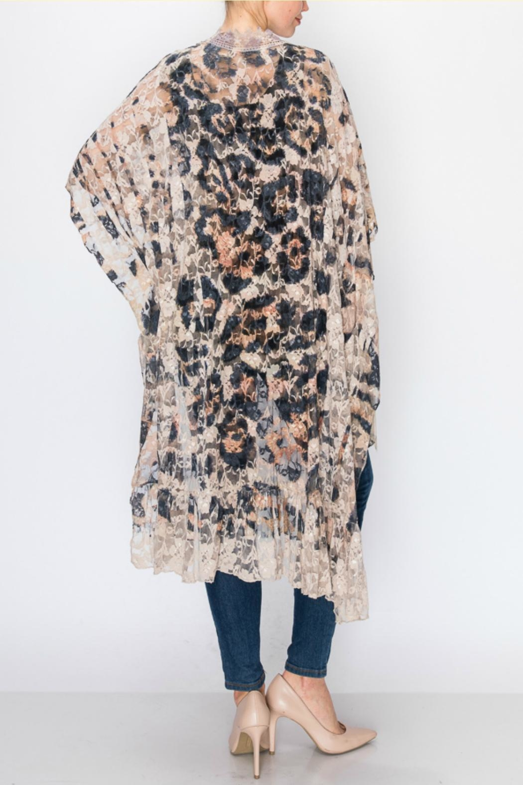 Origami Leopard-Print Lace Duster - Front Full Image