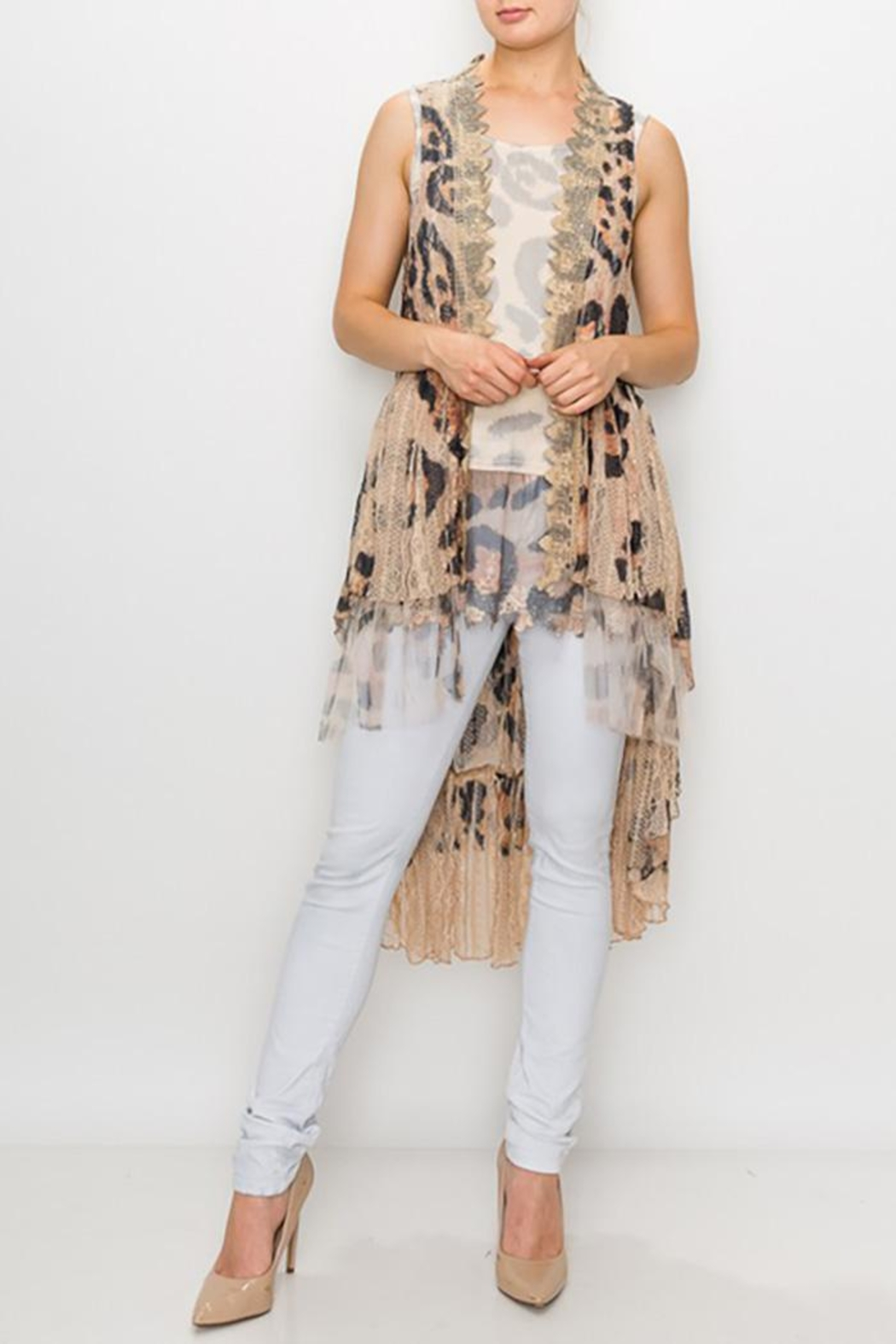 Origami Printed Lace Crochet Vest - Main Image