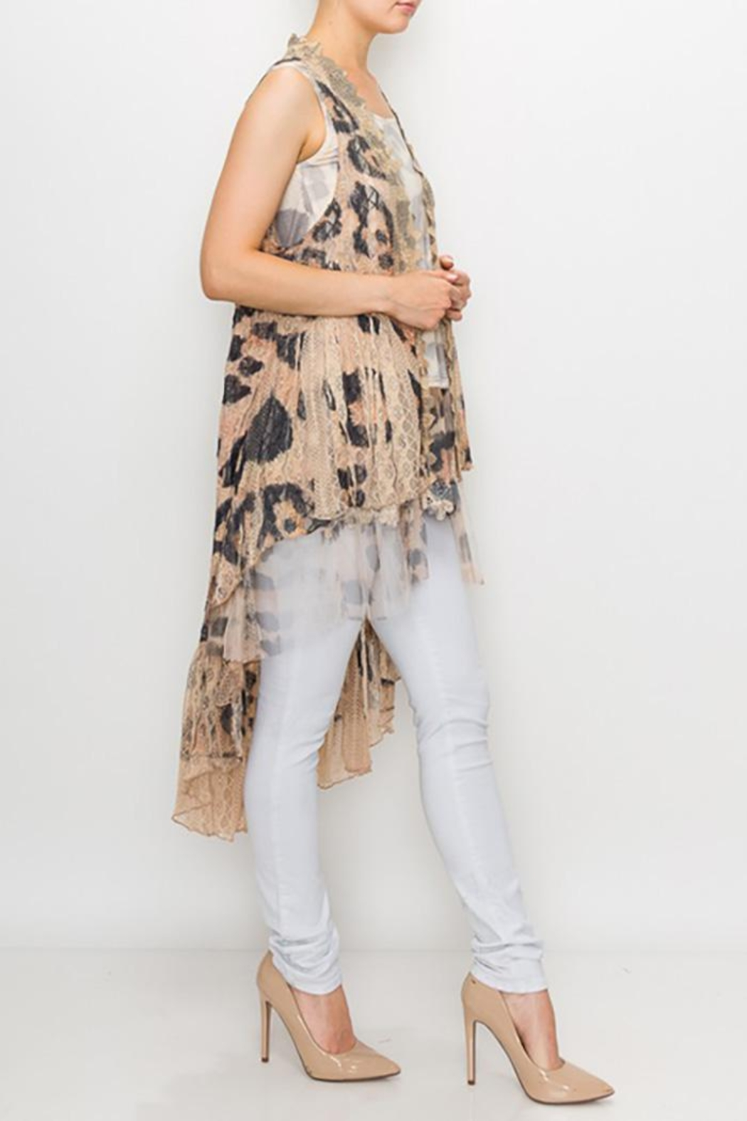 Origami Printed Lace Crochet Vest - Front Full Image