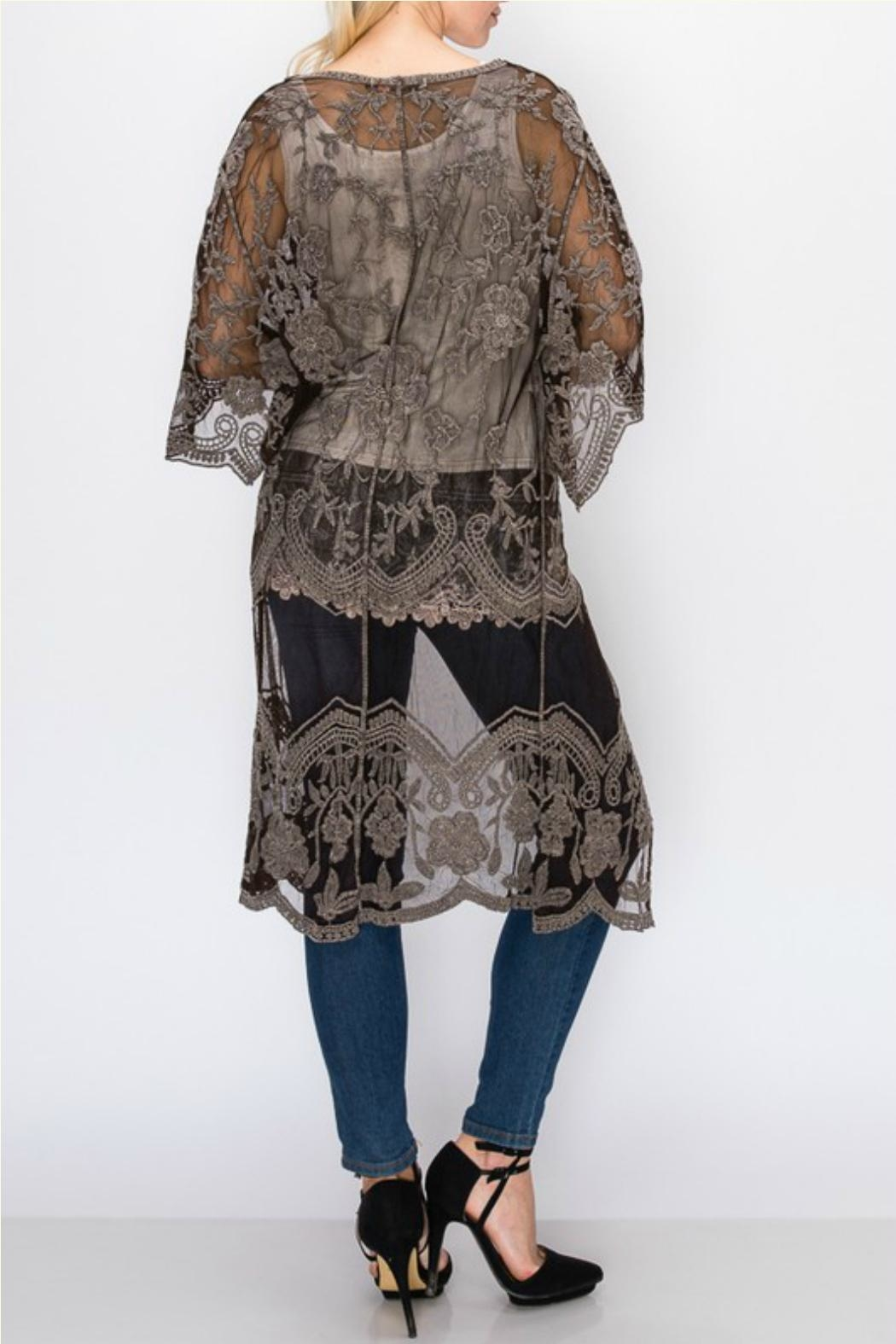 Origami Stone-Washed Lace Duster - Front Full Image