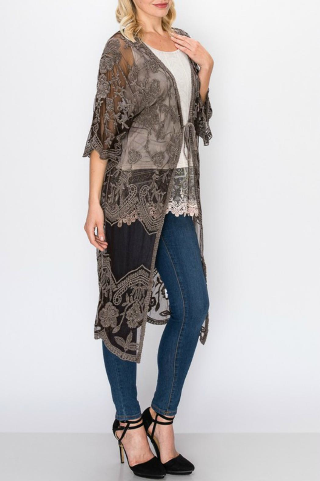 Origami Stone-Washed Lace Duster - Side Cropped Image