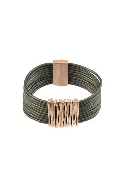 Shoptiques Product: Abstract Metal Leather Bracelet