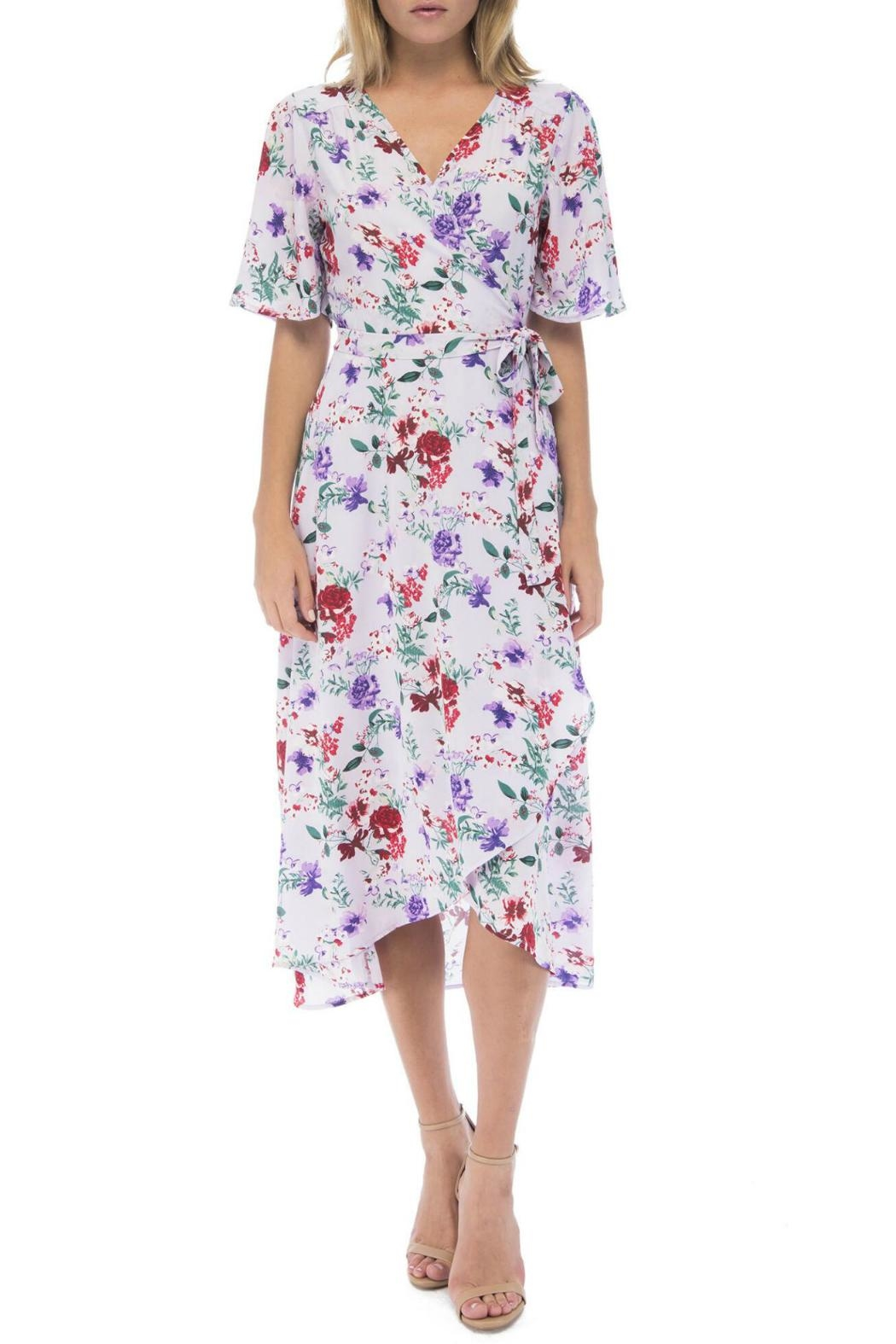Bobeau Orna Floral Wrap-Dress - Front Cropped Image