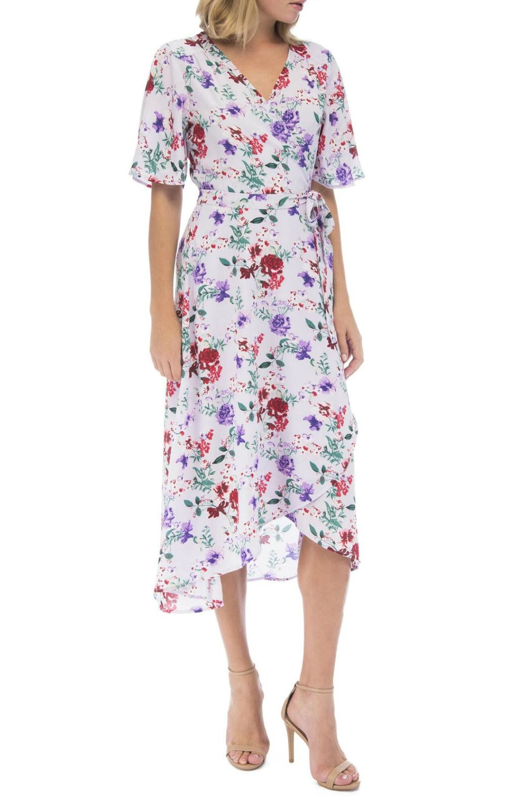 Bobeau Orna Floral Wrap-Dress - Side Cropped Image