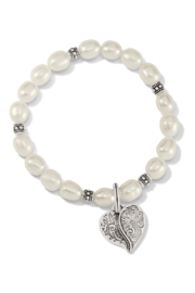 Brighton Ornate Heart Pearl Stretch Bracelet - Front cropped