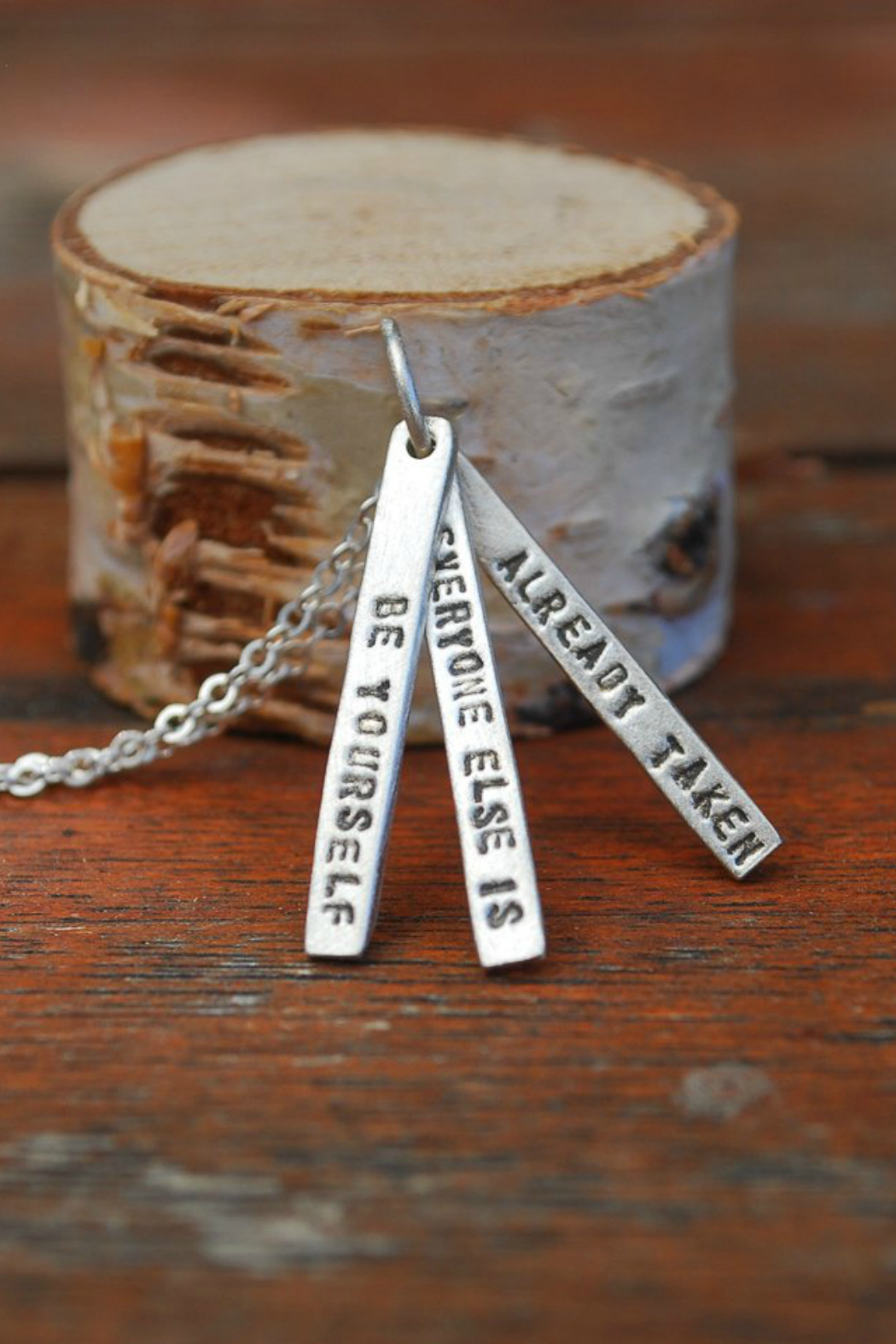 Chocolate and Steel Oscar Wild Quote Necklace 18 in - Main Image