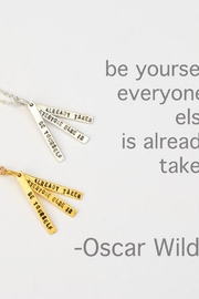 Chocolate and Steel Oscar Wilde Quote Necklace - Product Mini Image