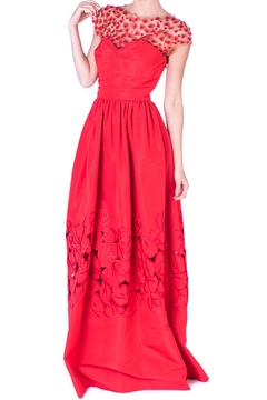 Oscar de la Renta Flower Red Gown - Alternate List Image