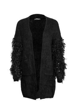 Moon Ostrich Feather Cardigan - Product List Image