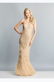 Dave and Johnny Ostrich Feather Dress - Product Mini Image