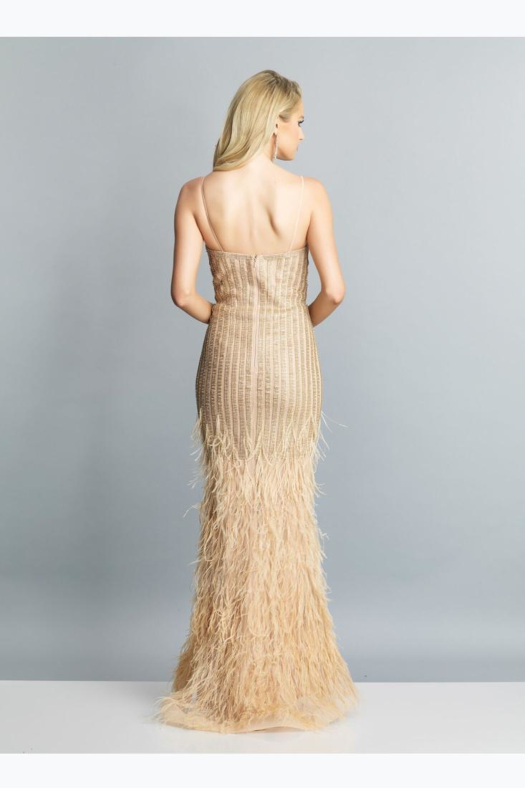 Dave and Johnny Ostrich Feather Dress - Front Full Image