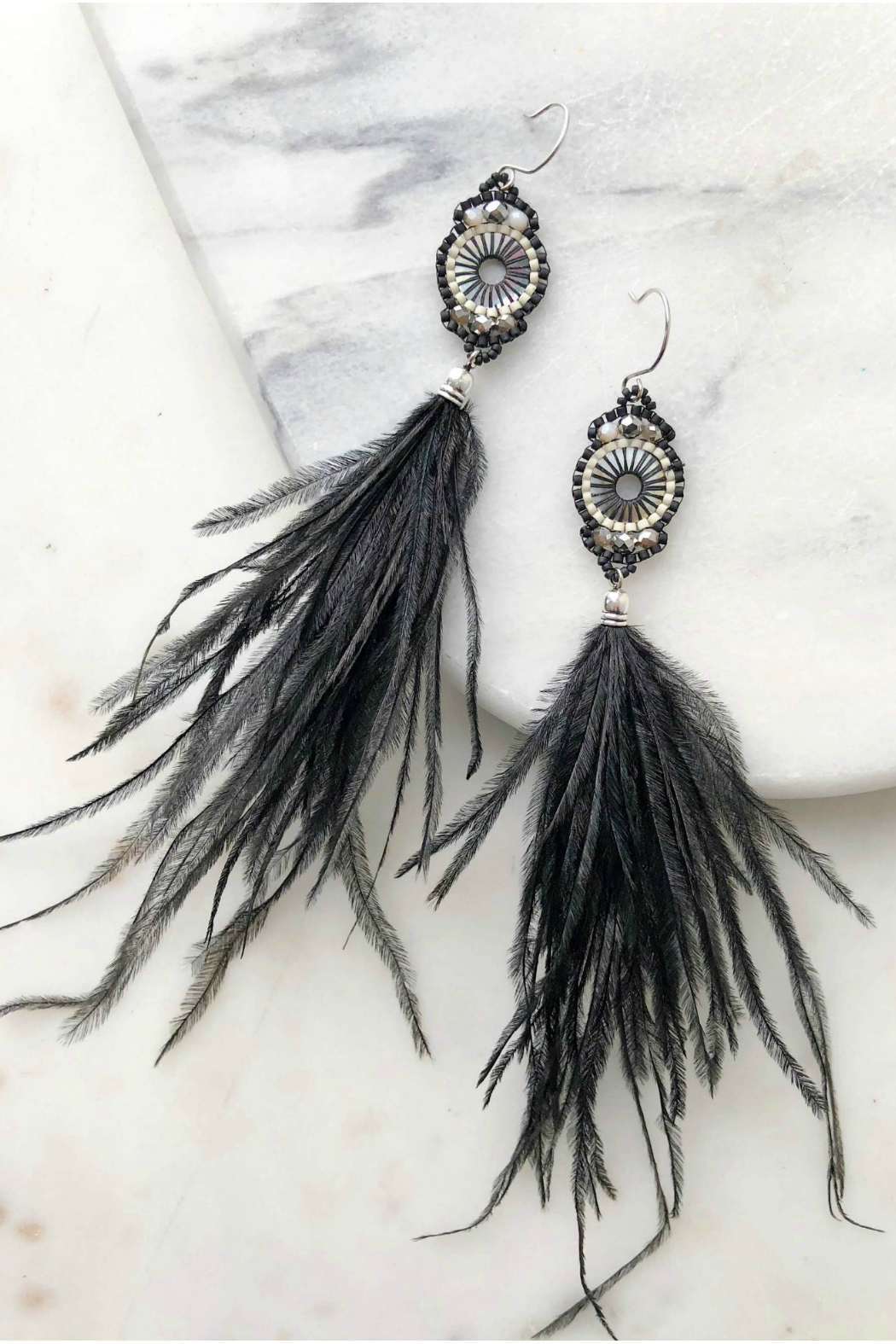 Rush by Denis & Charles Ostrich Feather Earrings - Front Cropped Image