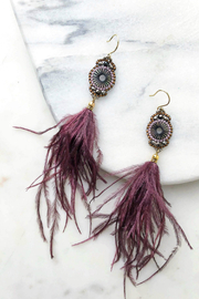 Rush by Denis & Charles Ostrich Feather Earrings - Front cropped