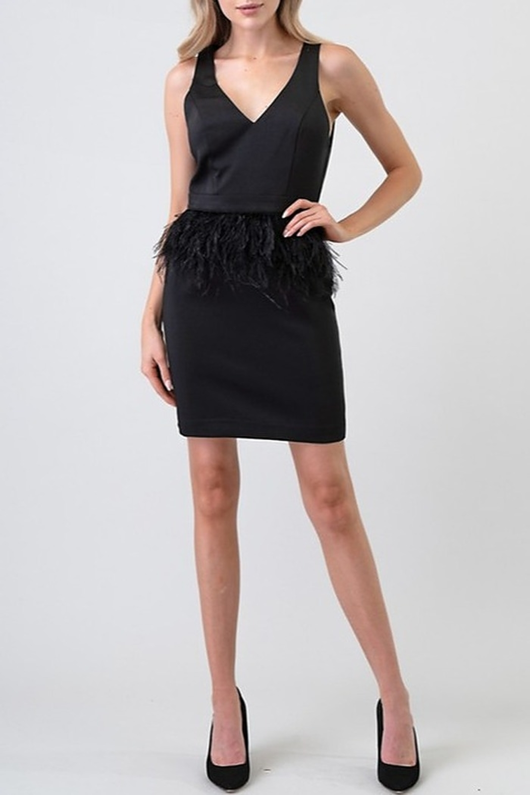 Minuet Ostrich Feather Waist Dress - Side Cropped Image