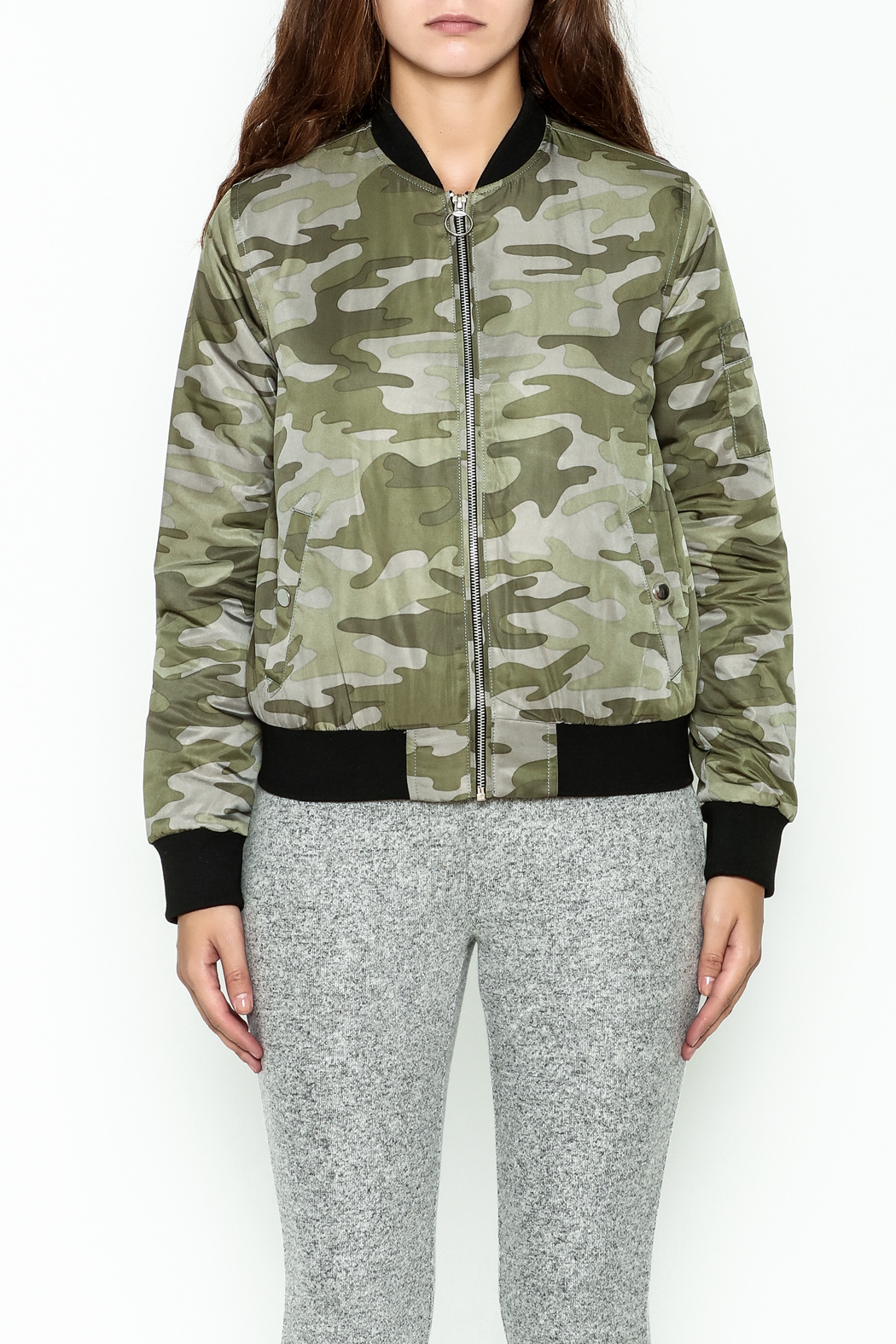 Others Follow  Camo Bomber Jacket - Front Full Image