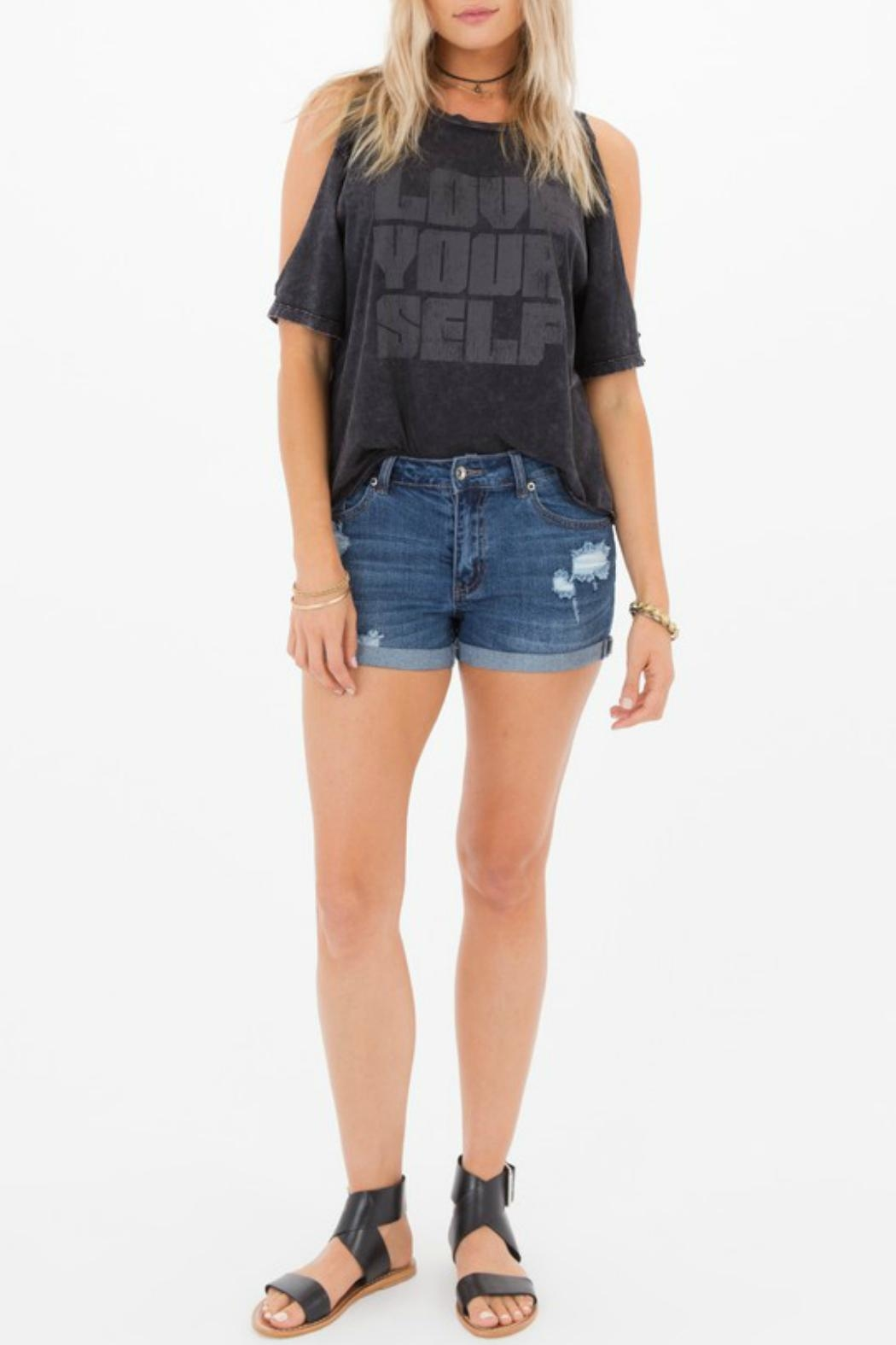 Others Follow  Cora Distressed Shorts - Back Cropped Image