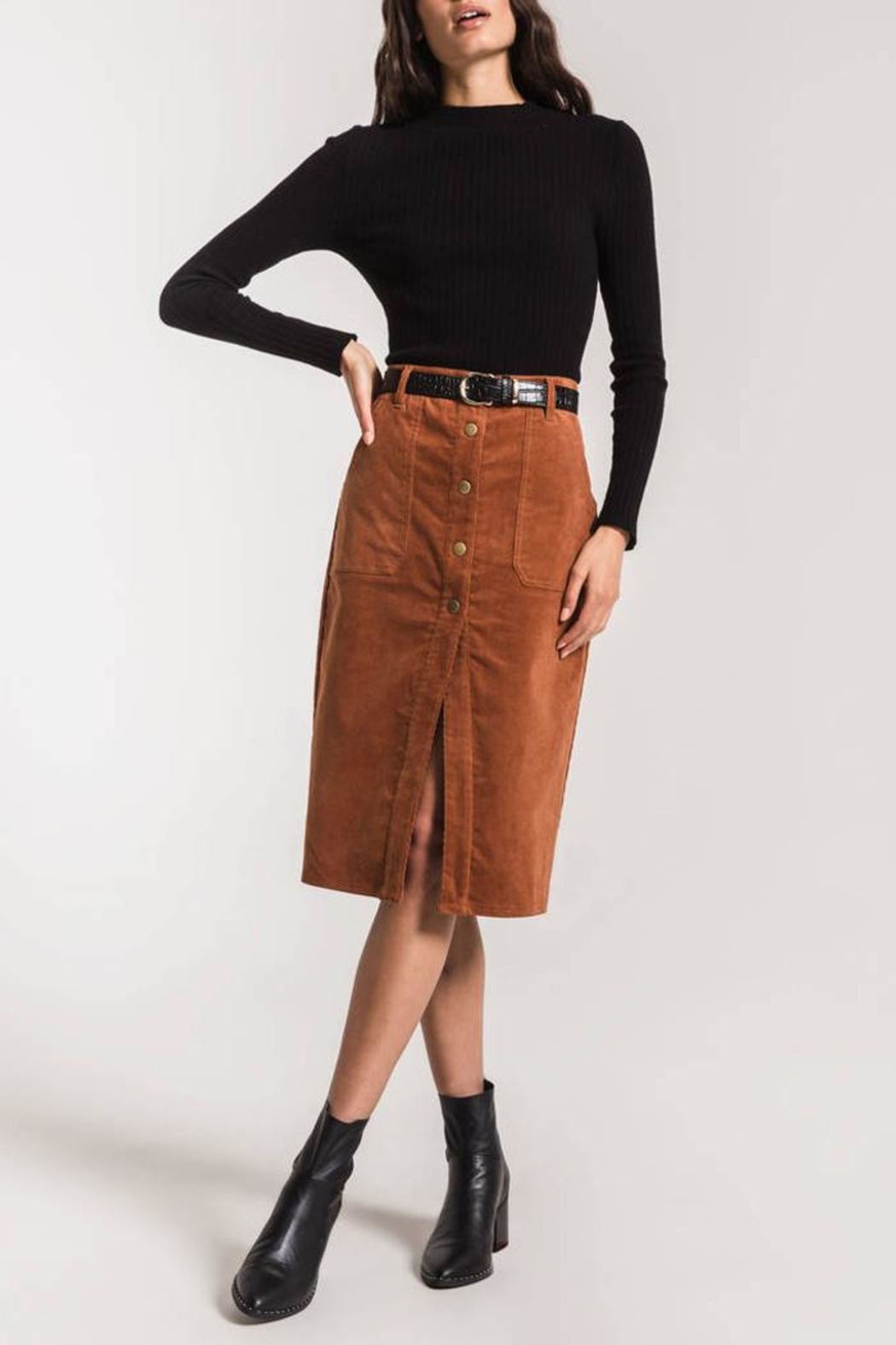 Others Follow  Corduroy Midi Skirt - Side Cropped Image