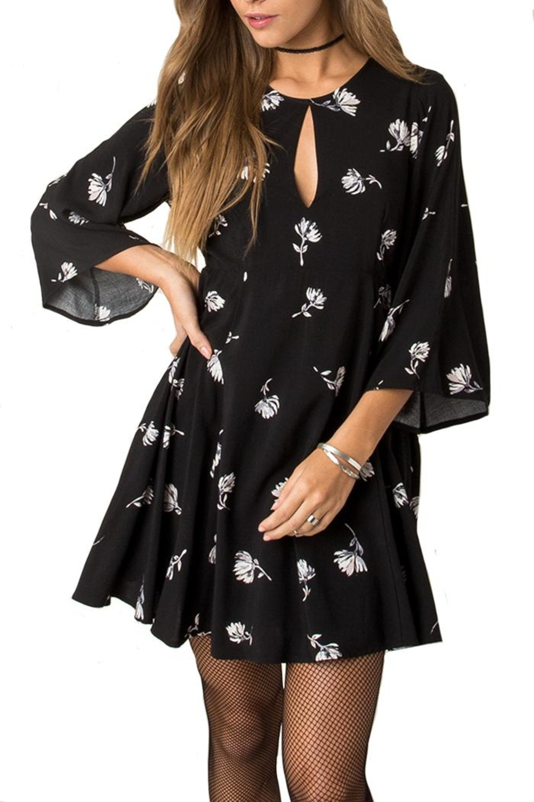 Others Follow  Floral Key Hole Dress - Main Image