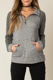 Others Follow  Grey Braided Sleeve Sweater - Product Mini Image