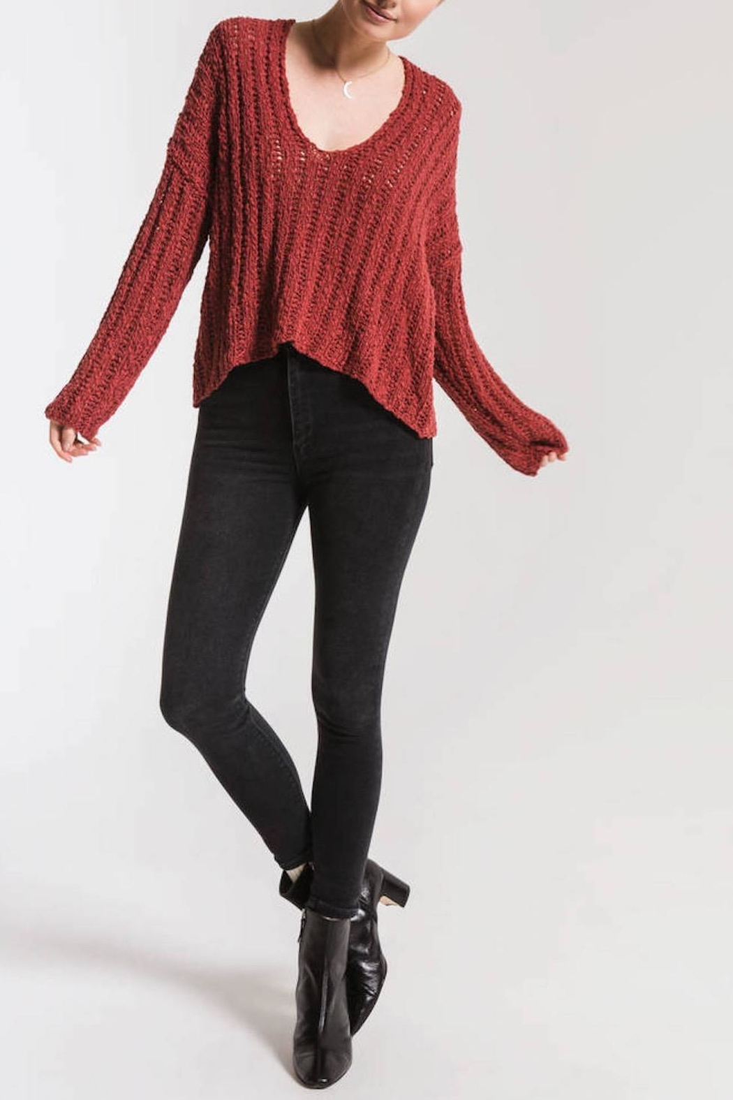 Others Follow  Leony Textured Sweater - Front Full Image