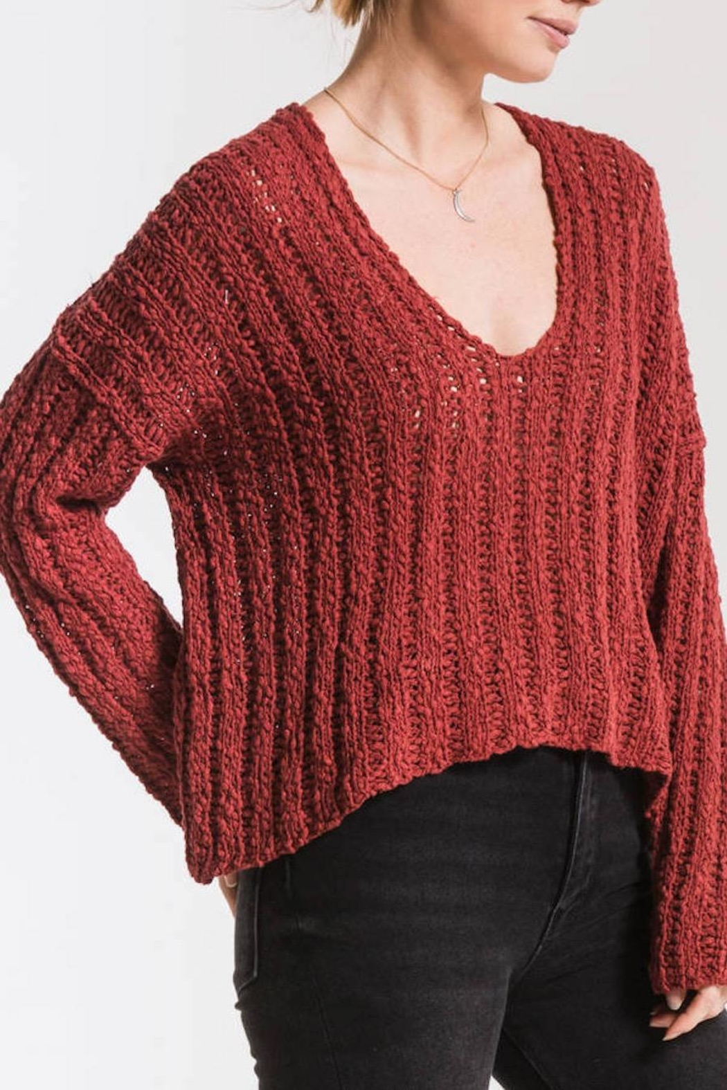 Others Follow  Leony Textured Sweater - Back Cropped Image