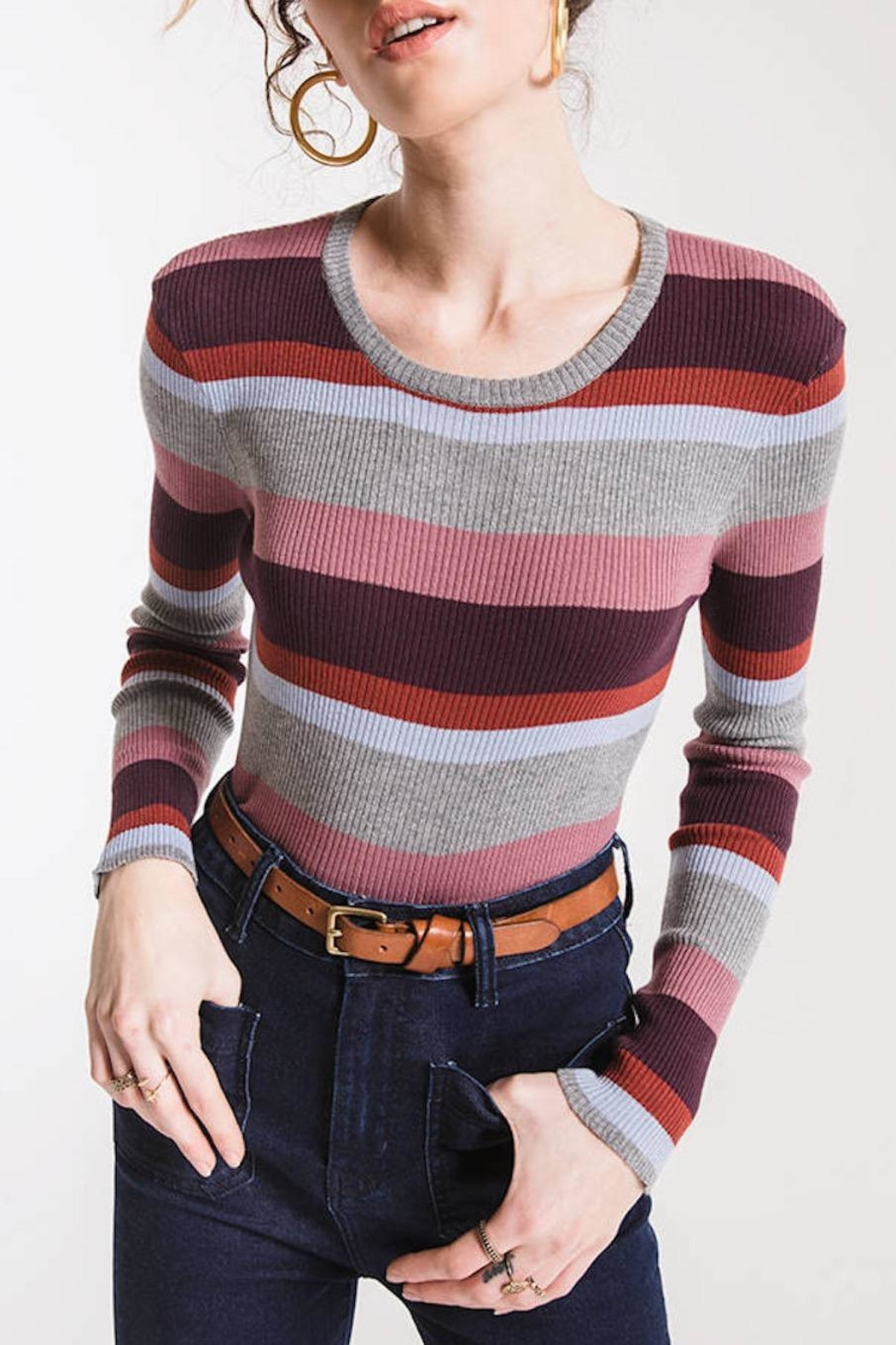 Others Follow  Madeline Striped Sweater - Back Cropped Image