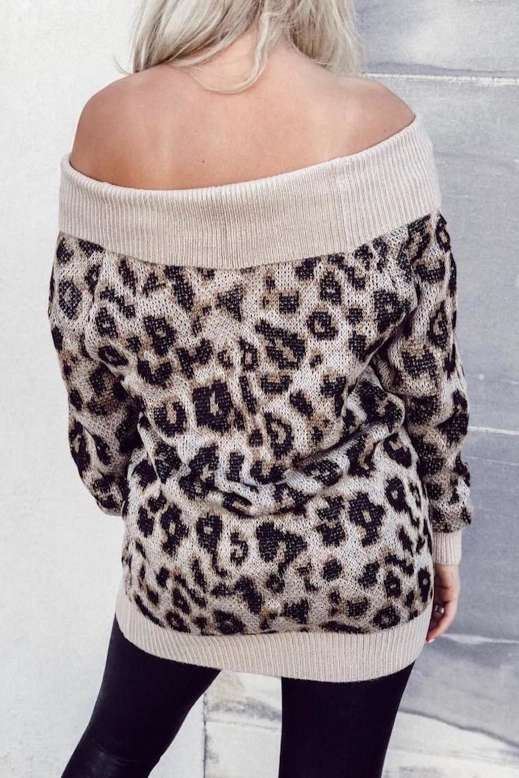 Others Follow  Off Shoulder Leopard - Front Full Image