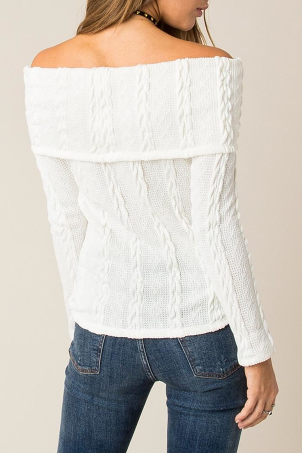 Others Follow  Off Shoulder Cable Sweater - Front Full Image