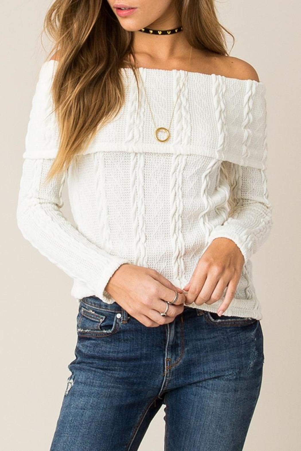 Others Follow  Off Shoulder Cable Sweater - Main Image