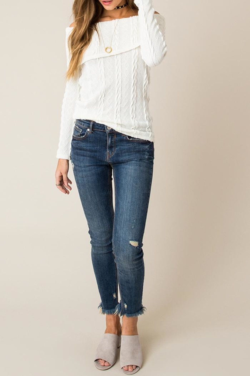 Others Follow  Off Shoulder Cable Sweater - Back Cropped Image