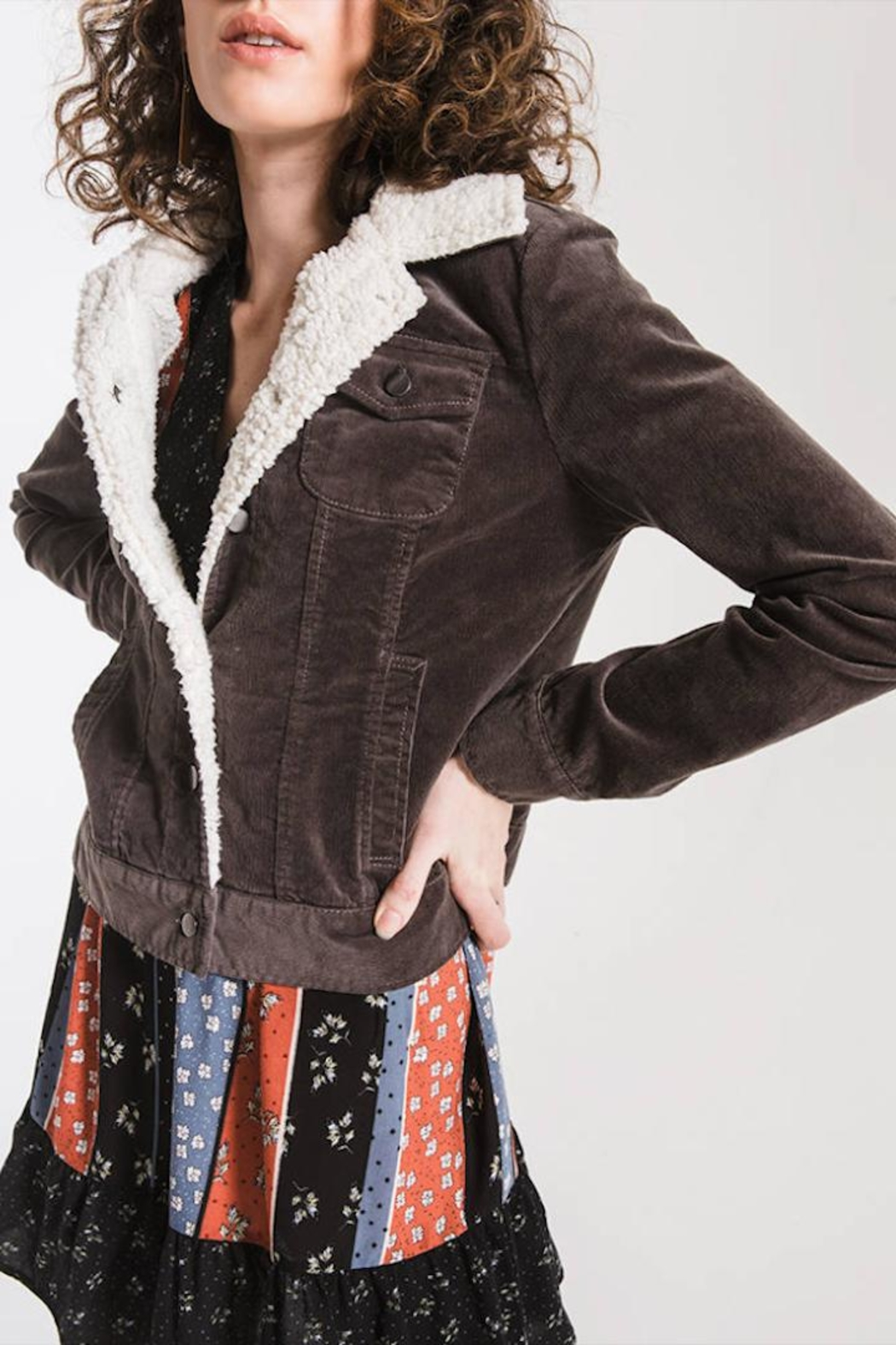 Others Follow  Sherpa-Accented Corduroy Jacket - Side Cropped Image