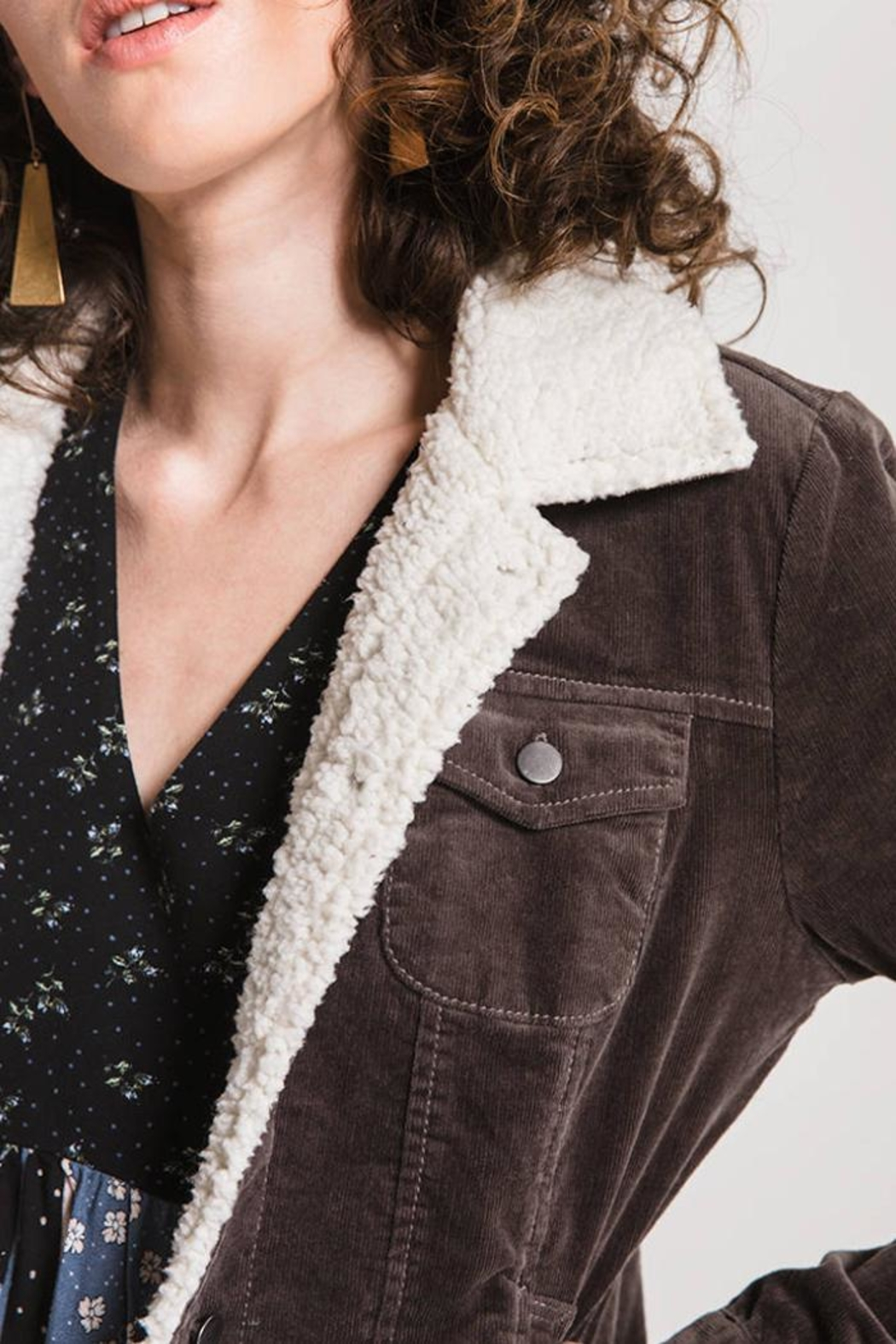Others Follow  Sherpa-Accented Corduroy Jacket - Back Cropped Image