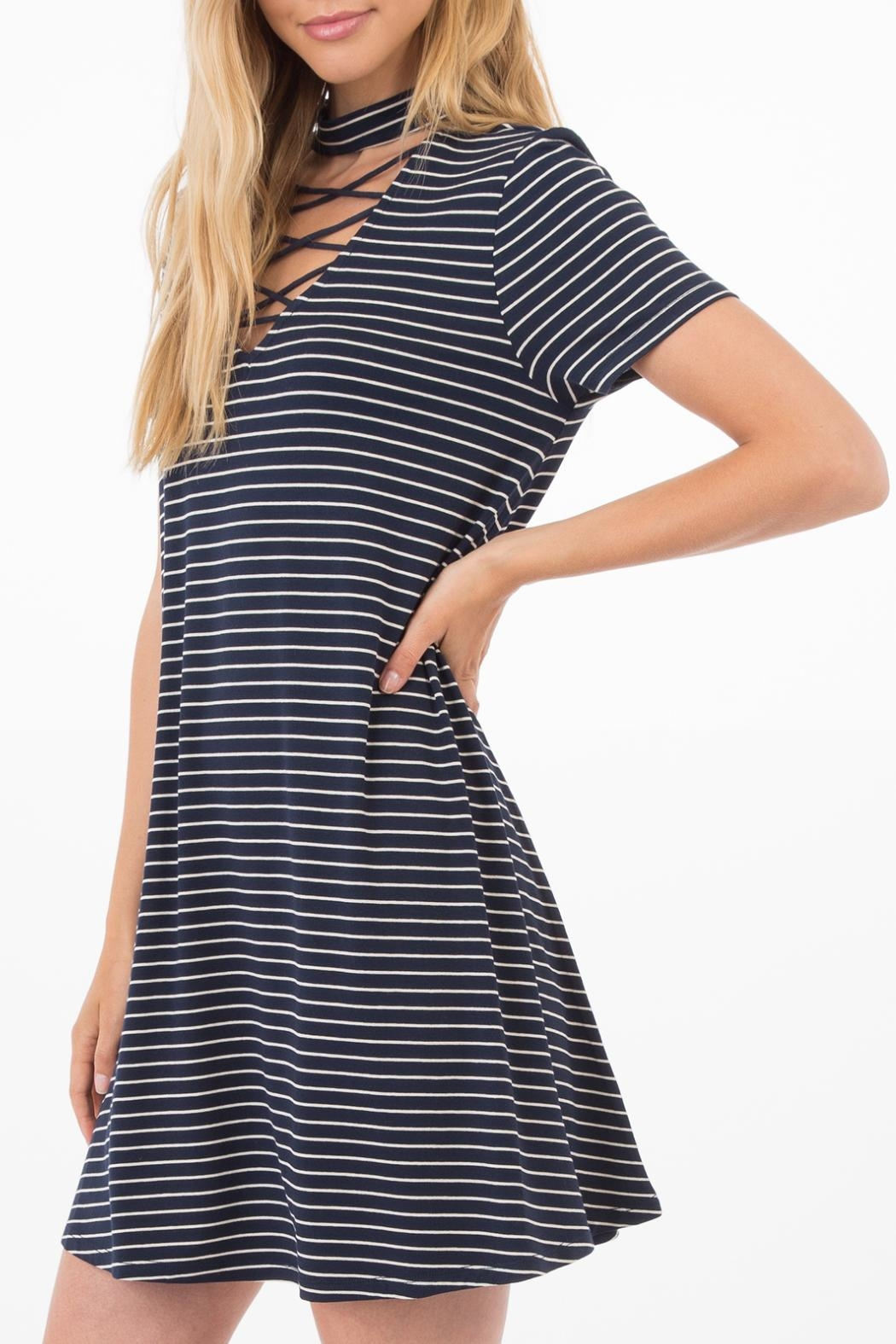Others Follow  Striped Choker Dress - Front Full Image