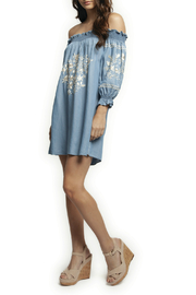 Dex OTS 3/4 Slv Embroidered Denim Dress - Product Mini Image