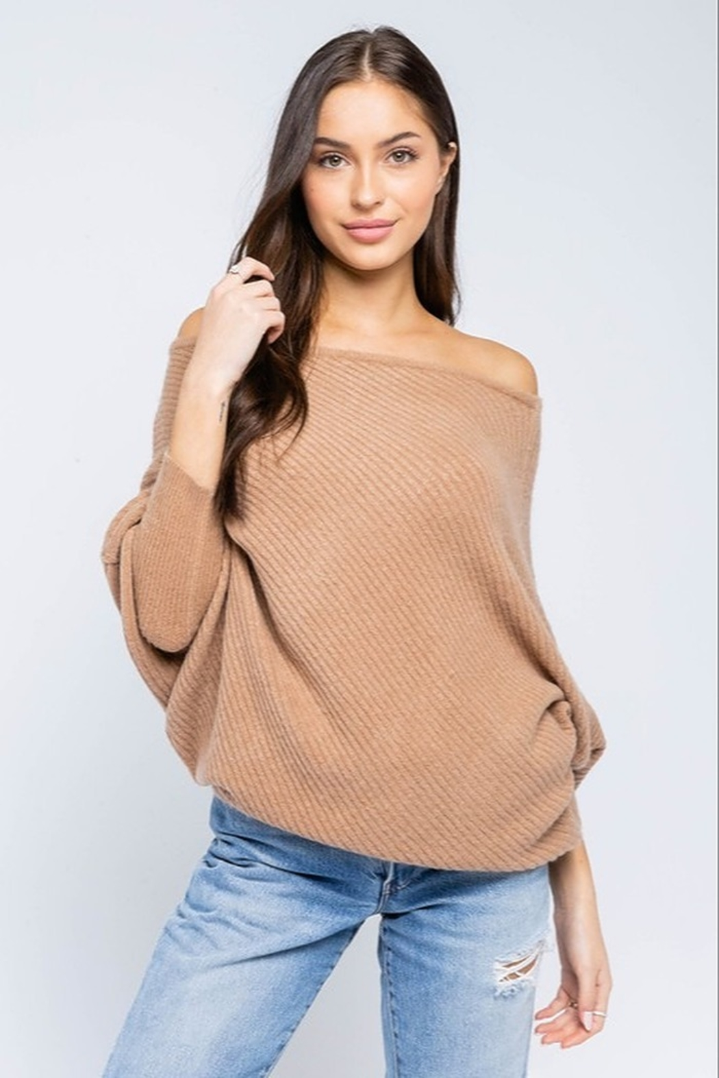 Olivaceous OTS Asymmetrical Sweater - Main Image