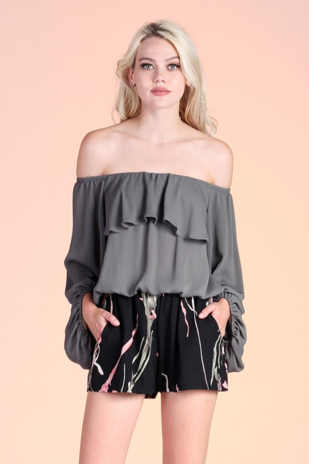 Tyche OTS Balloon Sleeve Blouse - Front Cropped Image