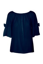 M made in Italy OTS Bow 3/4 Sleeve Top - Product Mini Image