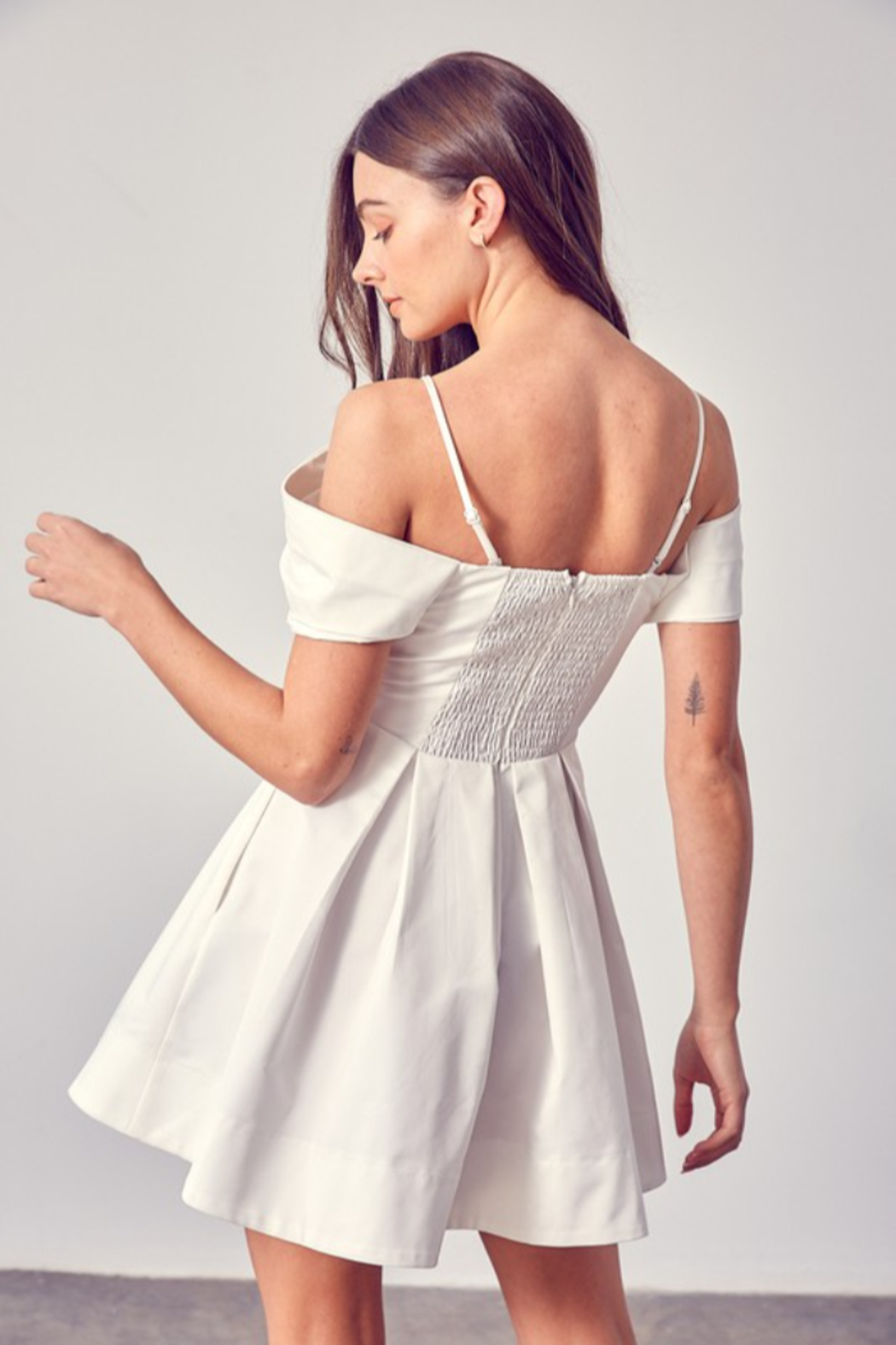 Do + Be  OTS Fit & Flare Dress - Side Cropped Image