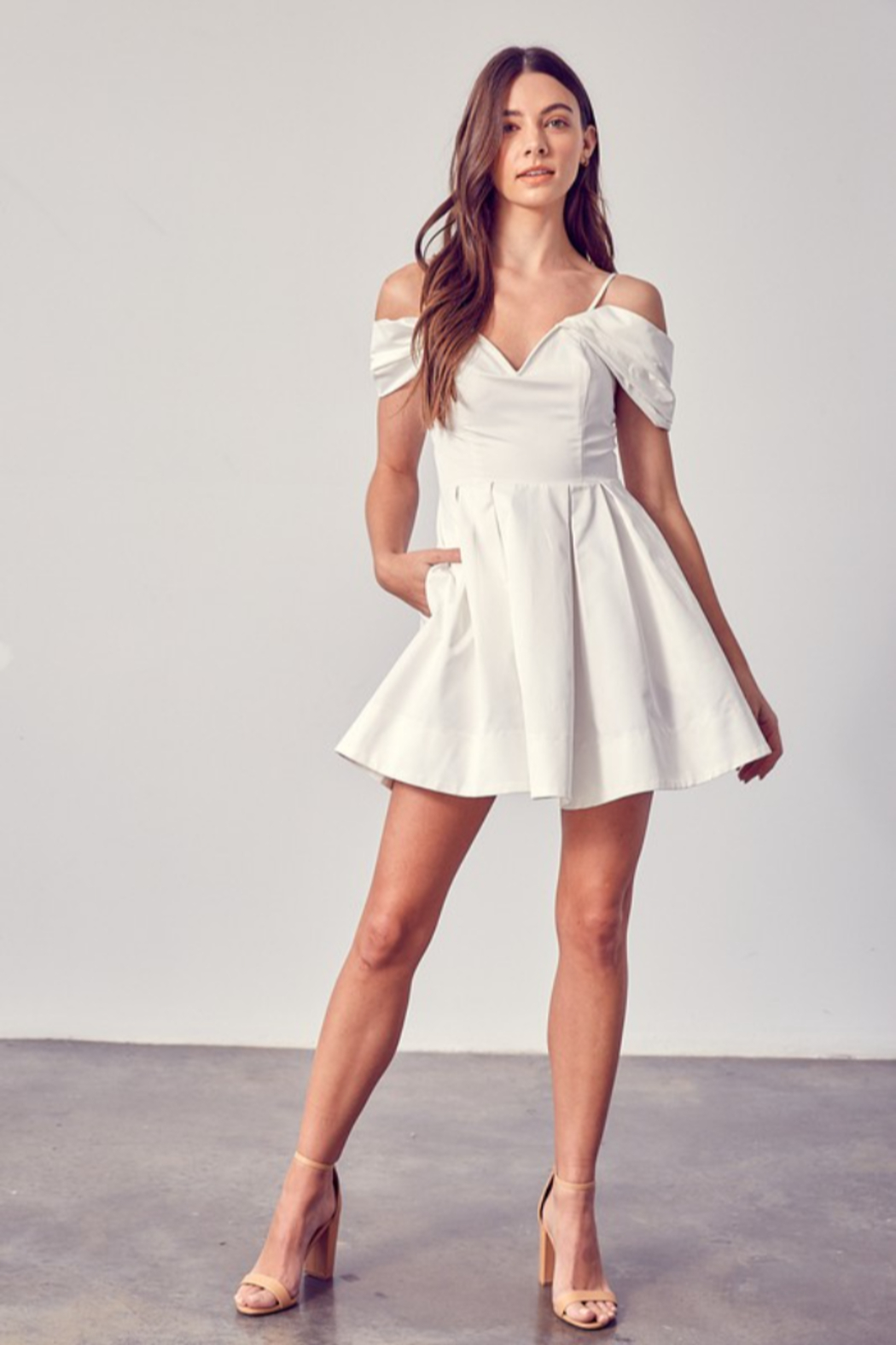 Do + Be  OTS Fit & Flare Dress - Back Cropped Image
