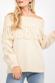 Very J OTS Fringe Sweater - Product Mini Image